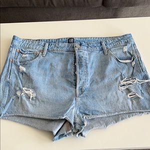 High waisted curvy fit denim shorts